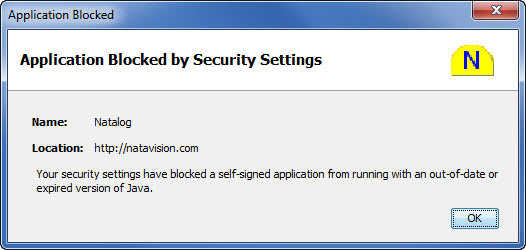 Picture of Natalog error message due to old version of Java