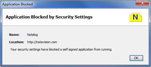 Picture of Natalog error message due to tight Java security settings