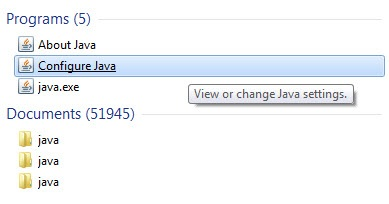 Start menu with Configure Java