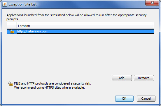 Exception Site List in Java Control Panel
